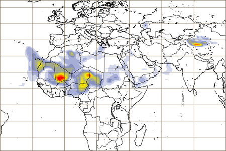 Example from CAMS forecast of dust aerosol