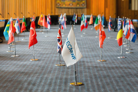 Member State flags in ECMWF Council Chamber