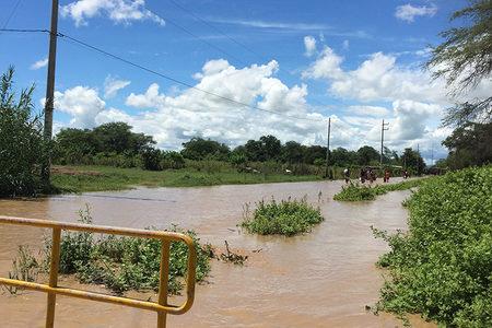 Flooded road in Peru
