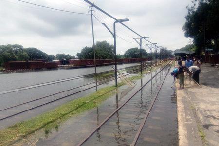 Flooded rail tracks