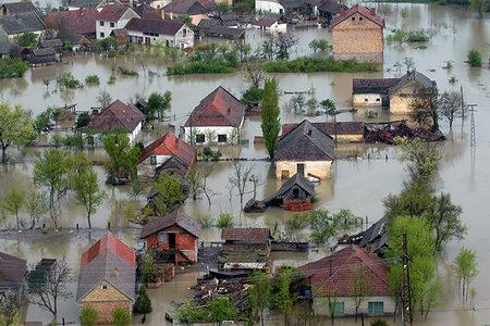 Houses in flood waters