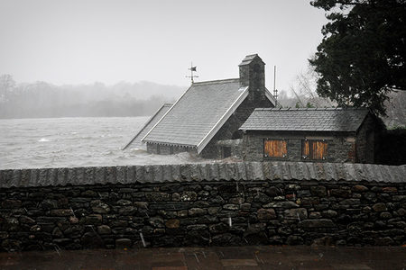 Flooded cottage in Cumbria, UK