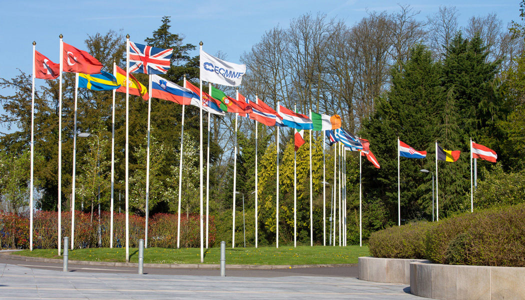 Member State flags at ECMWF headquarters