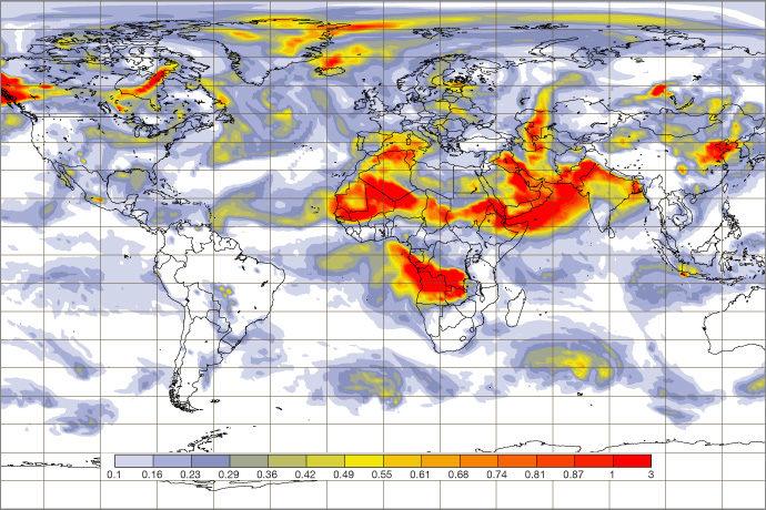 CAMS aerosol forecast for 00 UTC 14 July 2019