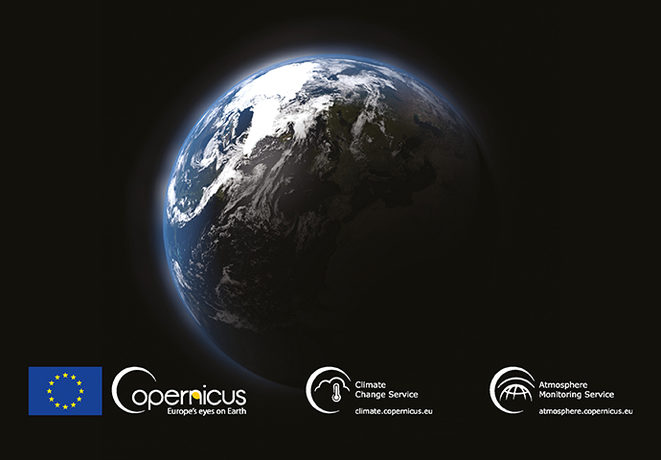 Earth in space with names of ECMWF Copernicus Services