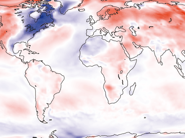 Map showing temperature anomalies, first quarter of 2015