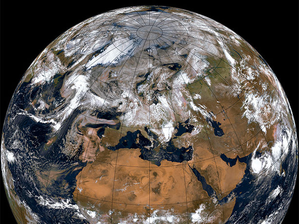 Composite image of Earth as seen by Metop-B satellite