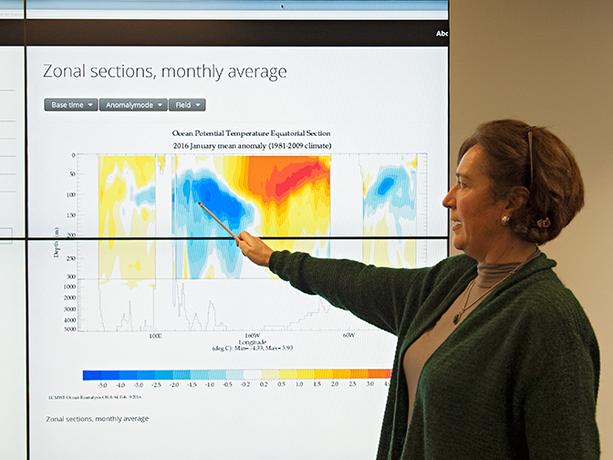 Magdalena Balmaseda explains an ocean chart
