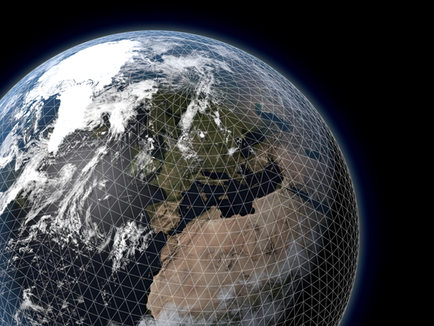 Forecast model grid layout on Earth's surface
