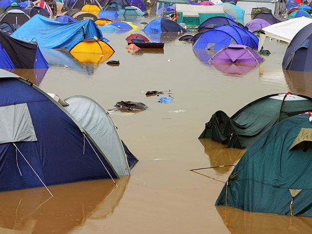 Flooded campsite