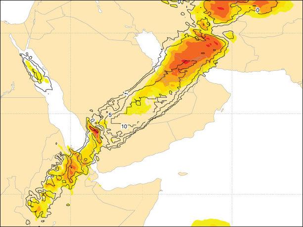 EFI precipitation for Saudi Arabia, Feb 2017