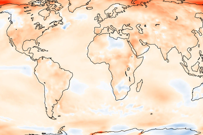 Temperature differences between 2017 and 1981 to 2010