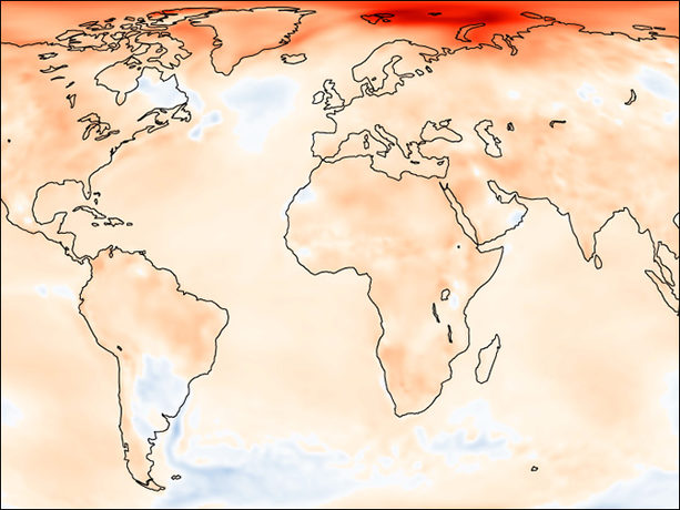 Global temperature anomalies 2016
