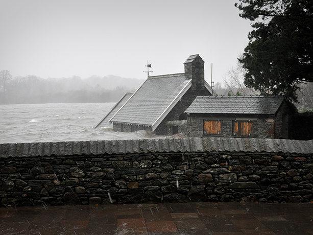 Flooded cottage in Cumbria, UK