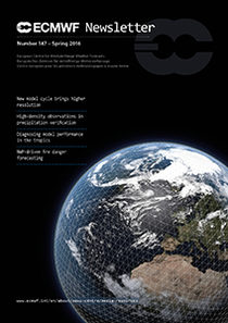 ECMWF Newsletter 141 Cover, globe, grid