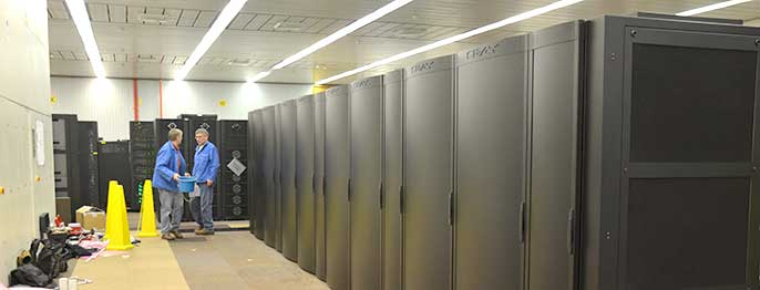 Installing a Cray supercomputer array in December 2013