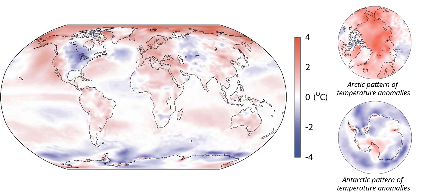 Mean surface air temperature for 2014 relative to the 1981-2010 average